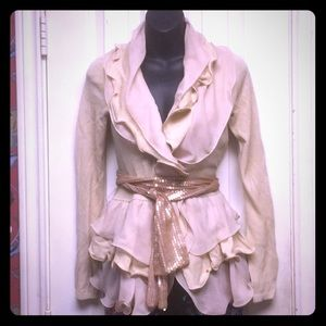 Beautiful taupe ruffled top/evening jacket w/belt